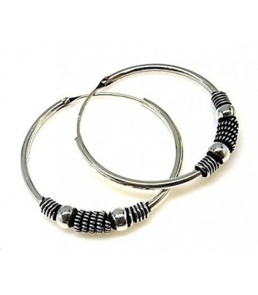 Silver Ethnic Hoops Earrings