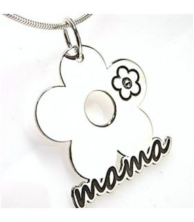Flower Silver Pendant Necklace Mama