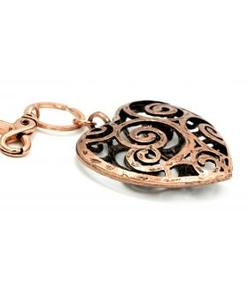 Copper heart shaped keyring