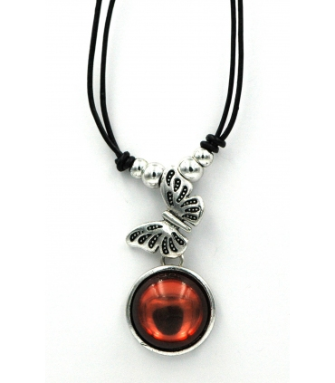 Butterfly and red stone choker