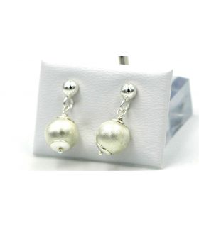 Silver Hanging Ball Earrings