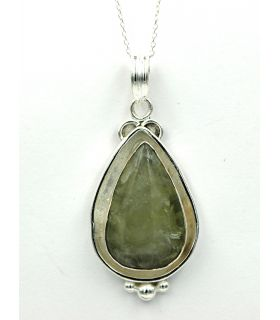 Silver and Chrysoberyl tear shaped pendant