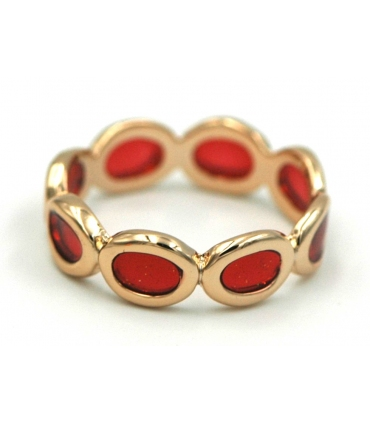 Enamelled ring in red and gold finish