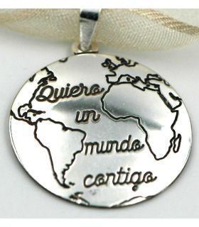 World map Silver pendant