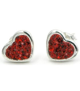 Silver & Swarovski crystal heart earrings
