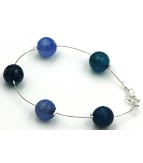 Steel, Silver and Agate bracelet