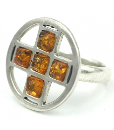 Silver ring with a cross made of Amber