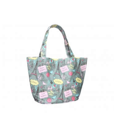 Shopper style handbag with Paris print