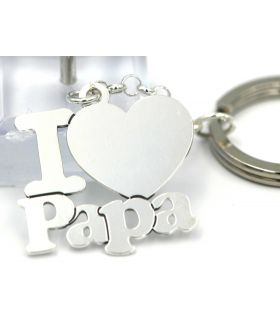 I (love) Papa keyring in Silver