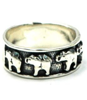 Silver elephants ring