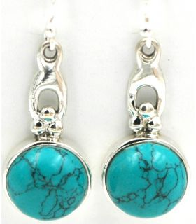 Silver hook earrings with turquoise stone