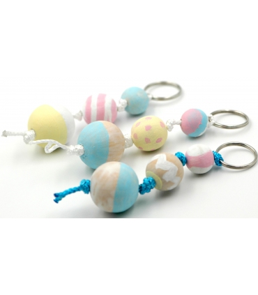 Hand painted keyring with wood spheres