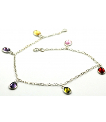 Silver anklet with crystal stones