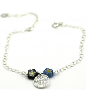 Silver Tree of Life and Murano anklet