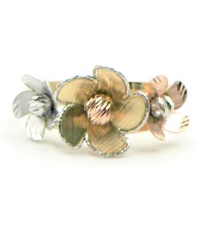 18K Gold ring with tri-coloured flowers
