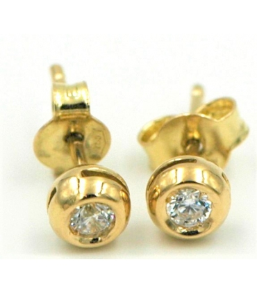 Yellow Gold Round Stud Earrings