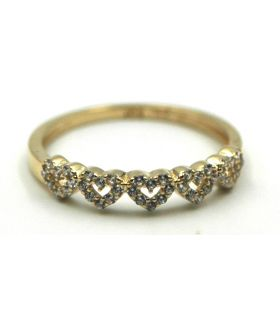 Yellow Gold Ring with Zirconia Hearts