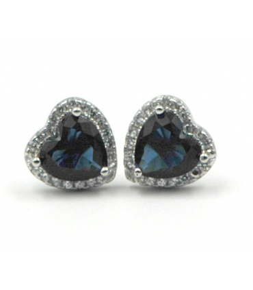 Silver Heart Shape Earrings with Zirconia