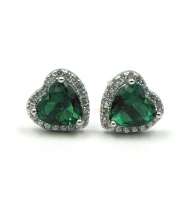 Silver Heart Shape Earrings with Green Zirconia