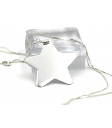 Silver Star Pendant for Engraving