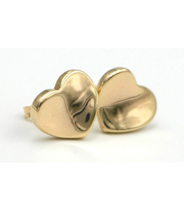 Heart Shaped Gold Stud Earrings