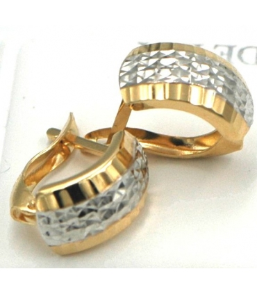 Two Colour Gold Earrings with Pattern