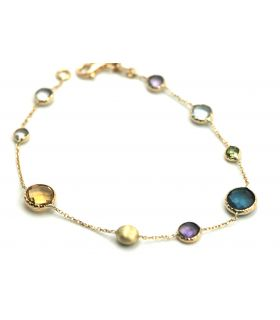 Gold Bracelet with Coloured Stones