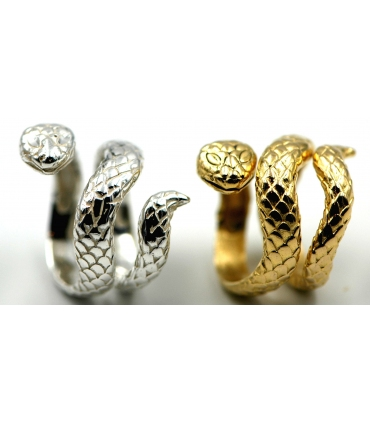 Gold Plated Silver Coiled Snake Ring