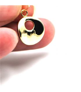 Yellow Gold Curved Disc Pendant