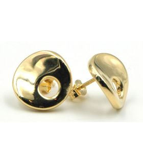 Curved Disc Yellow Gold Earrings