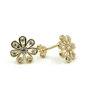 Gold Flower Stud Earrings with Zircons