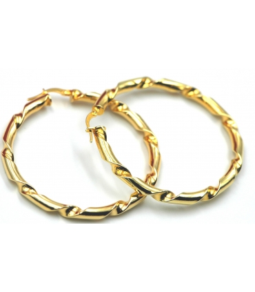 Gold Plated Silver Twist Hoop Earrings