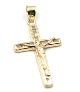 Yellow Gold Cross with Christ Pendant