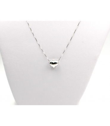 White Gold Heart Choker Necklace