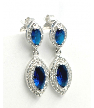 Silver & Royal Blue Zirconia Earrings