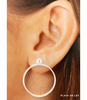 Circle Silver Earrings with Zirconia Stud