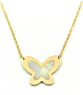 Butterfly Mother of Pearls Yellow Gold Choker