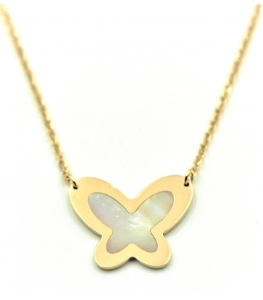 Butterfly Mother of Pearls Gold Necklace