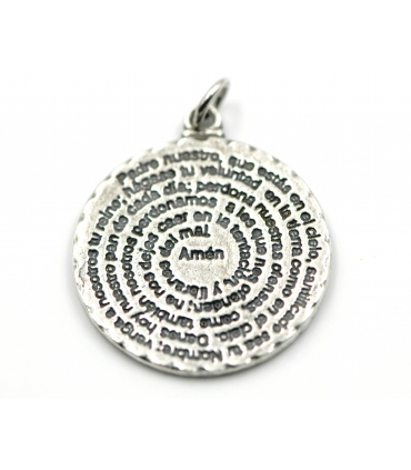 Our Father Prayer Silver Pendant Necklace