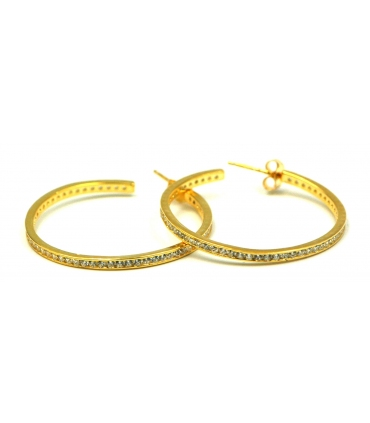 Gold Plated Silver Zirconia Hoop Earrings