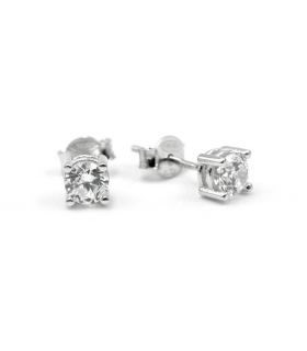 Cubic Zirconia Stud Earrings in 18K White Gold