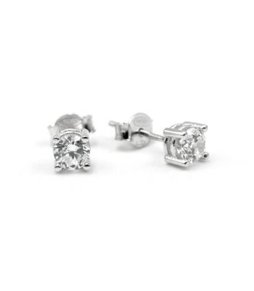White Gold Square Zirconia Stud Earrings