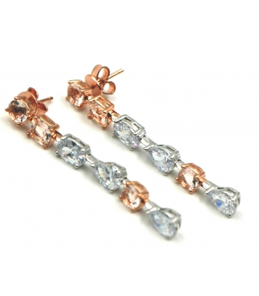 Long Zircons Silver Earrings
