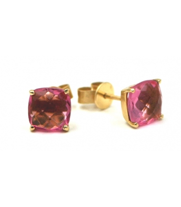 Gold Plated Pink Stones Silver Stud Earrings