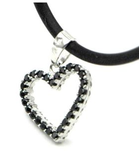 White Gold Heart Pendant Twin Colour Zircons