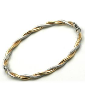 18K Two Colour Gold Twist Bangle Bracelet