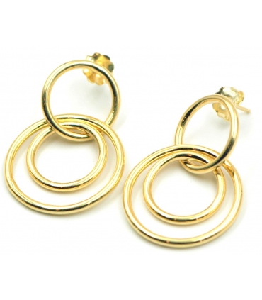 Triple Circle Gold Plated Silver Stud Earrings