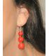 Long Coral & Silver Hook Earrings