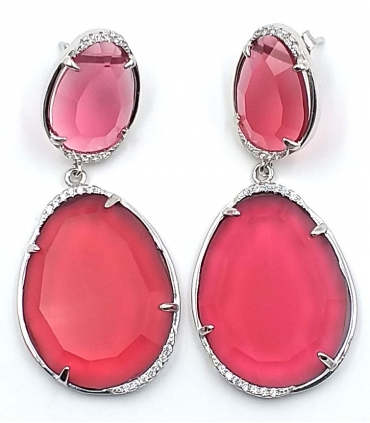 Long Pink Fuchsia Silver Earrings