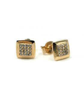 Yellow Gold Small Square Stud Earrings